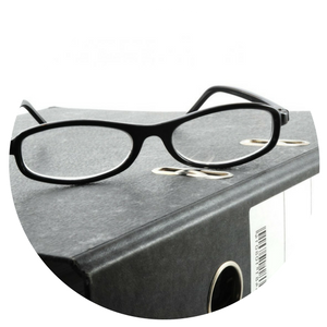 binder with glasses